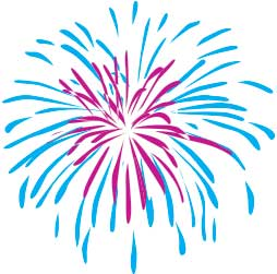Firework, Blue & Pink